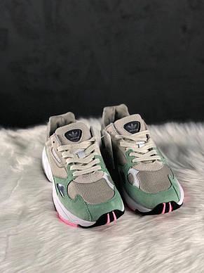 Кроссовки женские Adidas falcon серые-зеленые (Top replic), фото 2