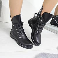 Женский зимние натуральные кожаные ботинки со шнуровкой 742462