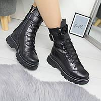Женские кожаные демисезонные ботинки на шнуровке 742463