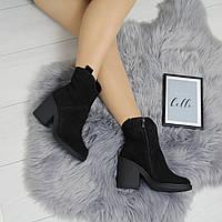 Женские замшевые зимние ботинки на небольшом квадратном каблуке 742464
