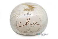DMC WOOLLY Chic,  Белый люрекс №01