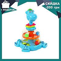Детская игрушечная юла Бегемотик с погремушками SL83058-59-60 | игрушка для самых маленьких, фото 1