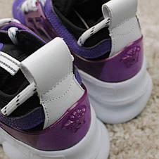 Кроссовки женские Versace Chain Reaction фиолетовые-белые (Top replic), фото 2