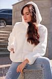 Жіноча коротка штучна шуба з капюшоном і на блискавці 602058, фото 3