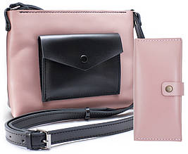 Женская Кожаная Винтажная Сумка Art Pelle Bossy с Кошельком Biggy (AP90350) Розовый Kaiser