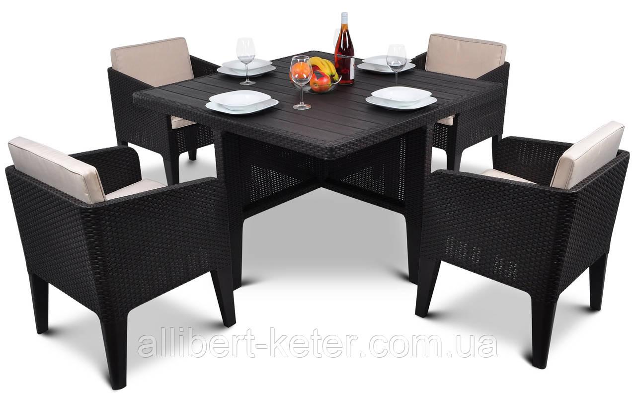 Набір садових меблів Columbia Dining Set 5 Pcs Brown ( коричневий ) з штучного ротанга ( Keter )