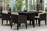Набір садових меблів Columbia Dining Set 5 Pcs Brown ( коричневий ) з штучного ротанга ( Keter ), фото 8