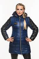 Зимняя женская куртка с кожаными стегаными рукавами., фото 1