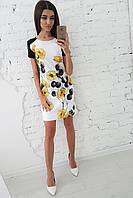 Платье трапеция с рисунком в виде цветов, фото 1