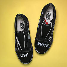 Кроссовки женские Vans Old Skool OFF-White черные (Top replic), фото 3