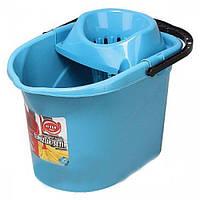Синее ведро МОП для швабры с отжимом Elif plastik 380-3LF