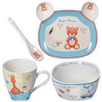 """Набор фарфоровой детской посуды """"Teady"""" 4 предмета в подарочной упаковке"""