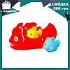Детский набор для купания животные и их детеныши 6327-1 Рыбки   пищалка   игрушки для ванны (3 вида)