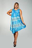 Голубое платье - разлетайка (ламбада), с рисунком ручной работы, на 48-60 размеры, фото 1