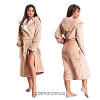 Длинный махровый халат с капюшоном (р.42-46,48-50,50-52) капучино