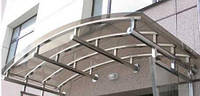 Арочный козырек из поликарбоната с креплением из нержавеющей стали НСК 180смх180см, толщина 0,5см, тонированны