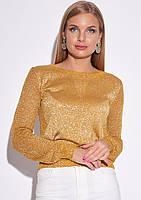 Женская кофта с люрексом горчичного цвета. Модель 22744. Размер 42/44