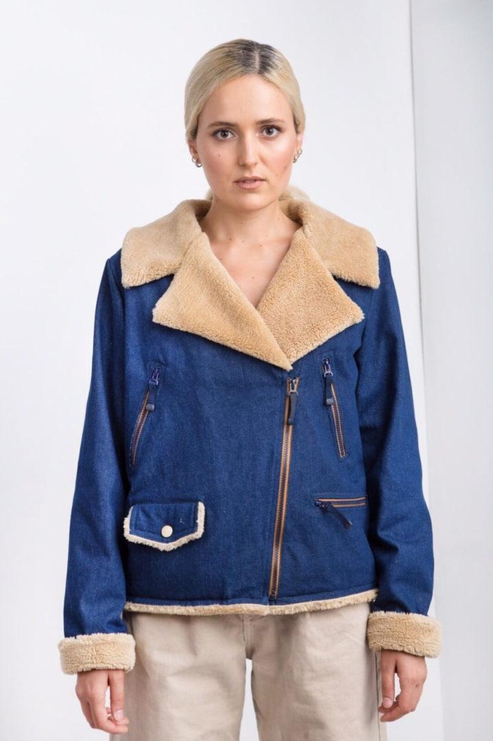 Джинсовая косуха на меху женская куртка весна зима 2019-2020 синяя Jaket Jeans Blue