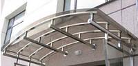 Арочный козырек из поликарбоната с креплением из нержавеющей стали НСК 180смх180см, толщина 0.6см, тонированны
