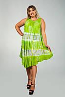 Салатовое платье - разлетайка (ламбада), с рисунком ручной работы, на 48-60 размеры, фото 1