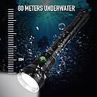Мега мощный фонарь BORUiT XHP70.2 для подводного плавания 80м, фото 3