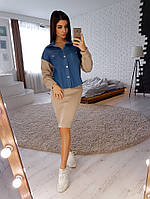 Стильный комплект из джинсовой курточки и теплого костюма