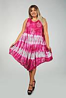 Малиновое платье - разлетайка (ламбада), с рисунком ручной работы, на 48-60 размеры, фото 1