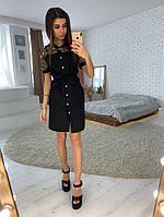Черное платье-рубашка со вставкой из сетки с вышивкой