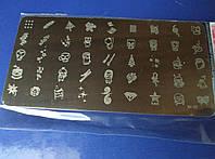 Пластина металлическая для стемпинга елка, мультяшки, колокольчики, череп арт.to-10