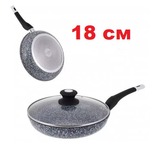 Сковорода с гранитным покрытием и крышкой 18 см UNIQUE UN-5112