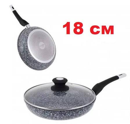 Сковорода с гранитным покрытием и крышкой 18 см UNIQUE UN-5112, фото 2