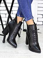 Женские демисезонные сапоги на шнуровке и с заостренным носком 75OB85
