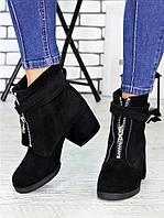 Замшевые женские черные ботинки на каблуке 75OB86