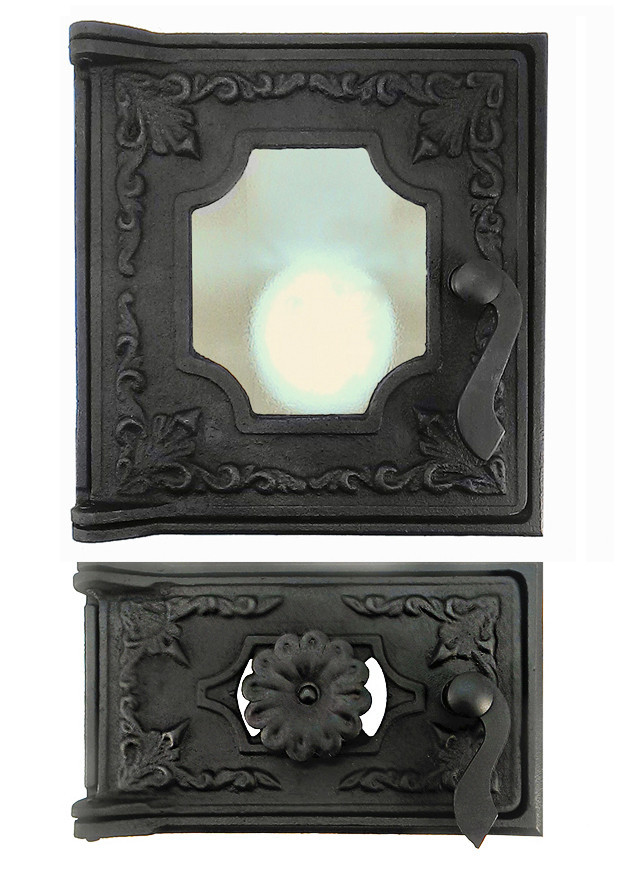 Дверца печная со стеклом 102872К, 285х270 мм