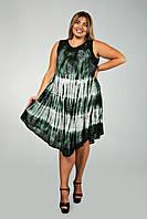 Зеленое платье - разлетайка (ламбада), с рисунком ручной работы, на 48-60 размеры, фото 1