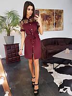 Бордовое платье-рубашка со вставкой из сетки с вышивкой
