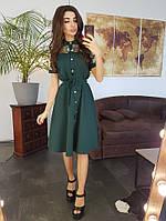 Зеленое платье миди со вставкой из сетки с вышивкой