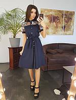 Синее платье миди со вставкой из сетки с вышивкой