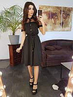 Черное платье миди со вставкой из сетки с вышивкой