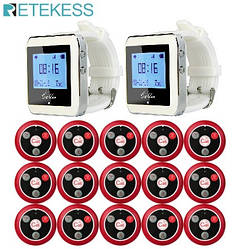 Система вызова официанта Retekess 15+2 (пейджер-часы 2шт, кнопка вызова официанта 15шт)
