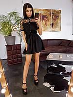 Черное платье мини со вставкой из сетки с вышивкой