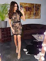 Кружевное платье по фигуре черного цвета, фото 1