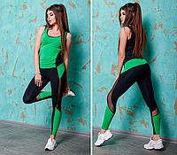 Костюм для фитнеса женский черно-зеленый,бифлекс+сетка, Турция 42,46 размеров