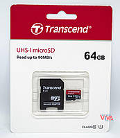 Карта памяти microSDXC Transcend Premium 64GB UHS-I + Adapter (TS64GUSDU1), фото 1
