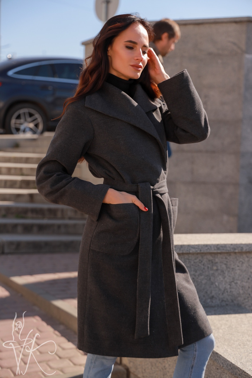 Женское кашемировое Пальто классика на запах до колен длиной 60pt232