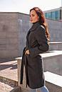 Женское кашемировое Пальто классика на запах до колен длиной 60pt232, фото 2
