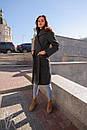Женское кашемировое Пальто классика на запах до колен длиной 60pt232, фото 3