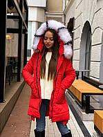 Женская теплая зимняя куртка удлиненная с каюшоном и опушкой 65kr157
