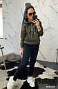 Женский утепленный костюм на флисе с худи 44so792, фото 3