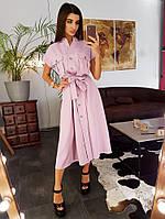 Розовое платье мидакси  с карманами